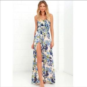 Lulus strapless floral maxi dress